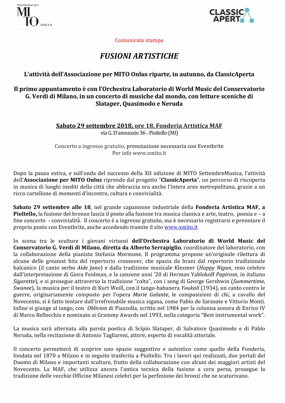 Microsoft Word - CS 29.09._XMITO ONLUS_ClassicAperta al MAF Piol