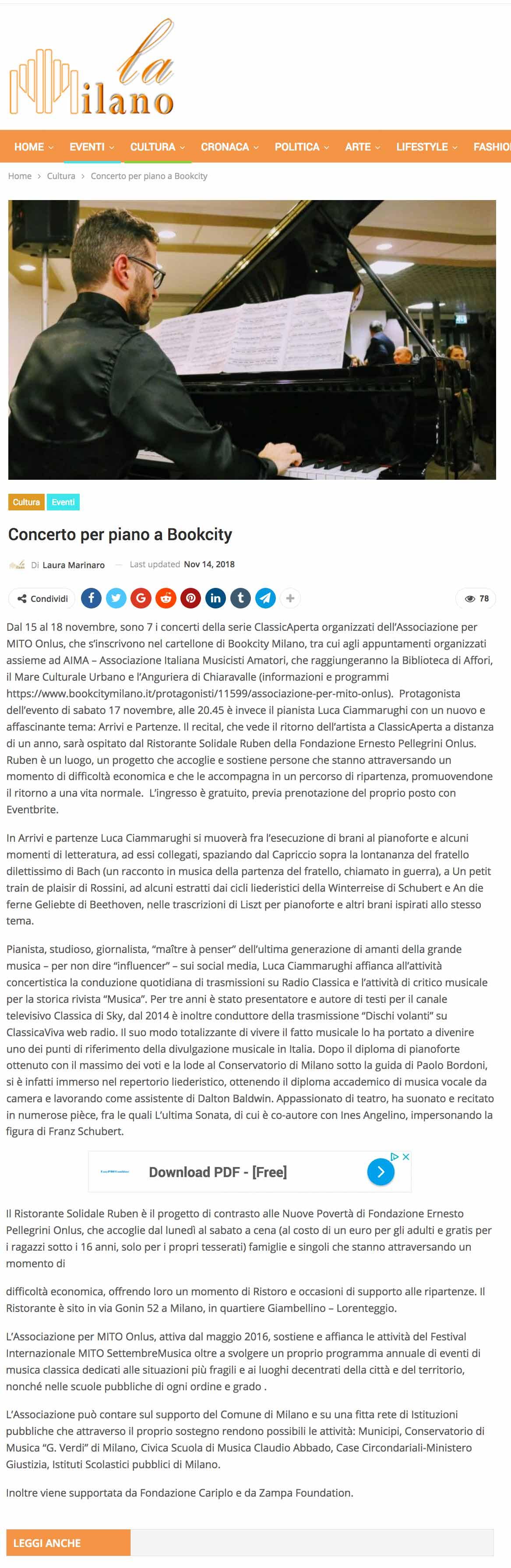 ClassicAperta: La Milano - concerto per piano a Bookcity