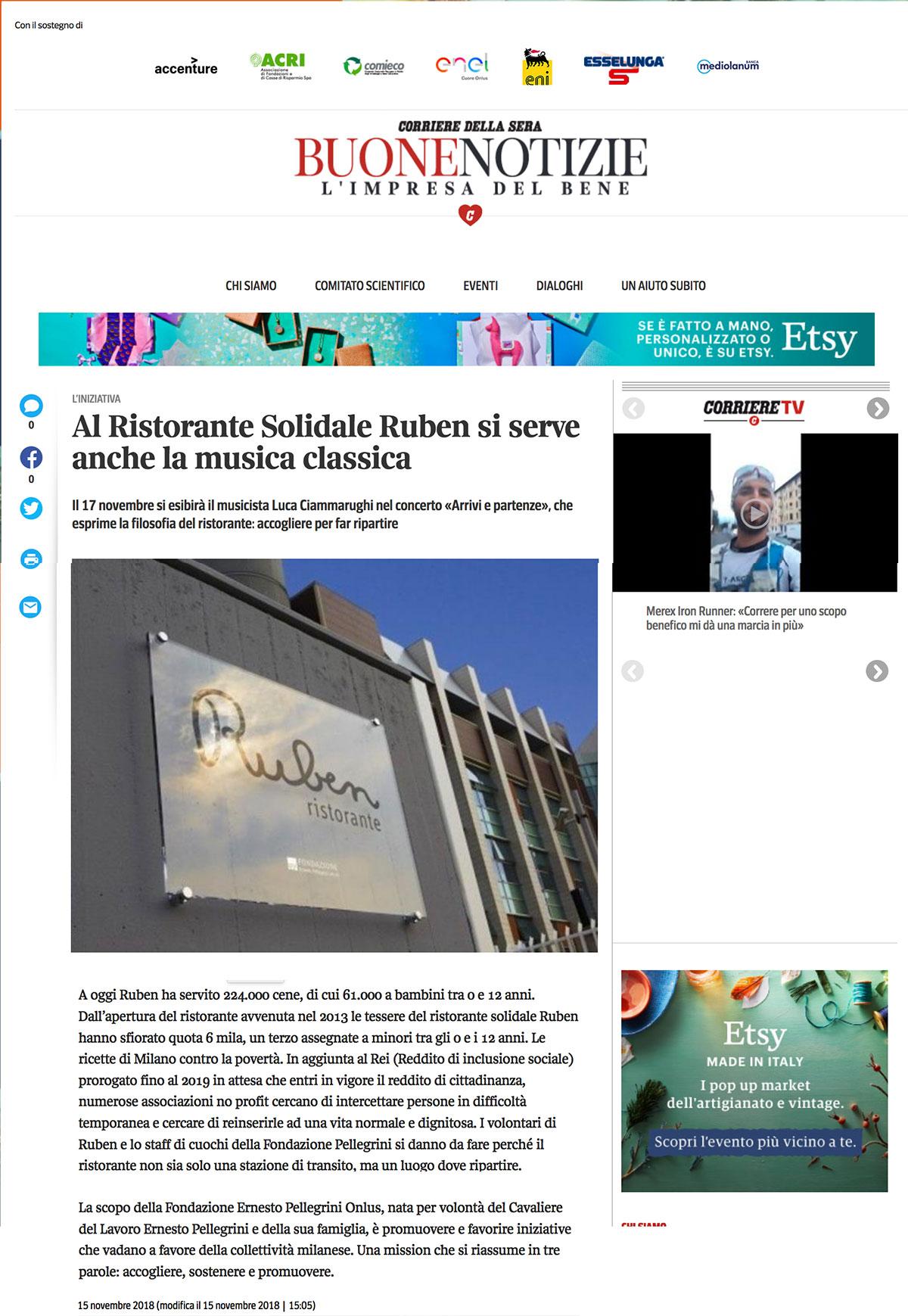 ClassicAperta: Corriere Buone notizie - Al Ristorante Solidale Ruben si serve anche musica classica