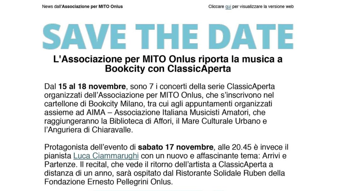 ClassicAperta: save the date Bookcity 2018