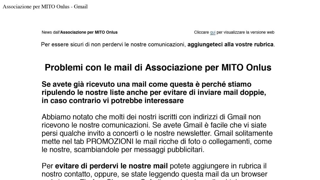 2018-12-14 Associazione per MITO Onlus: problema Gmail