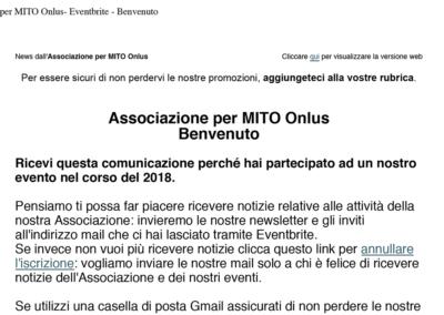 2018-12-18 Associazione per MITO Onlus: Eventbrite benvenuto