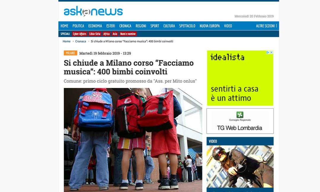 Associazione per MITO Onlus: rassegna stampa progetto Facciamo Musica!