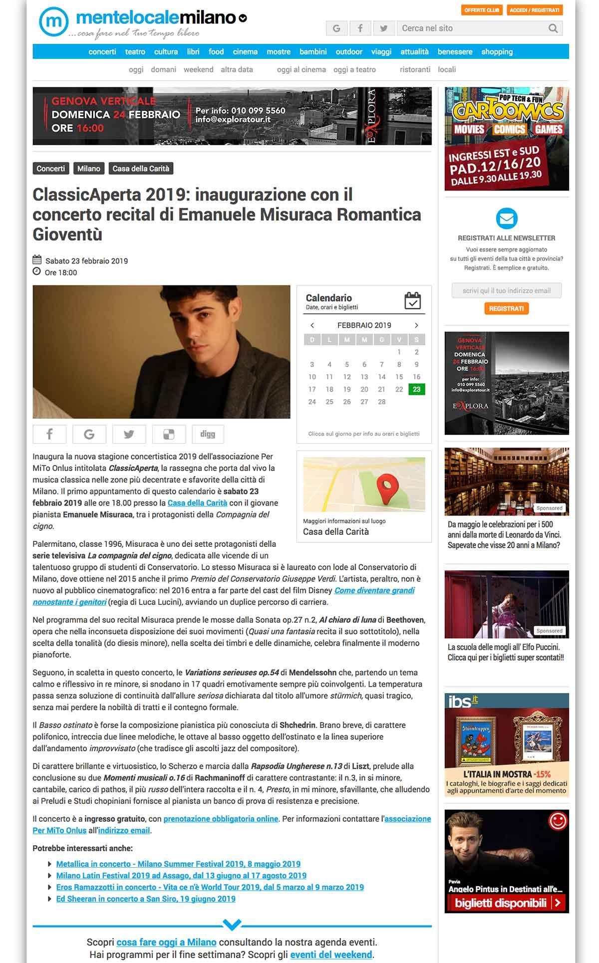 ClassicAperta 2019: inaugurazione con il concerto recital di Emanuele Misuraca Romantica Gioventù