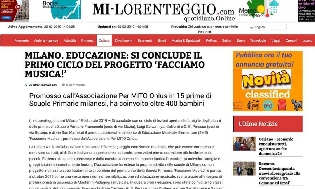 MI-LORENTEGGIO: Milano. Educazione: si conclude il primo ciclo del progetto 'facciamo musica!'