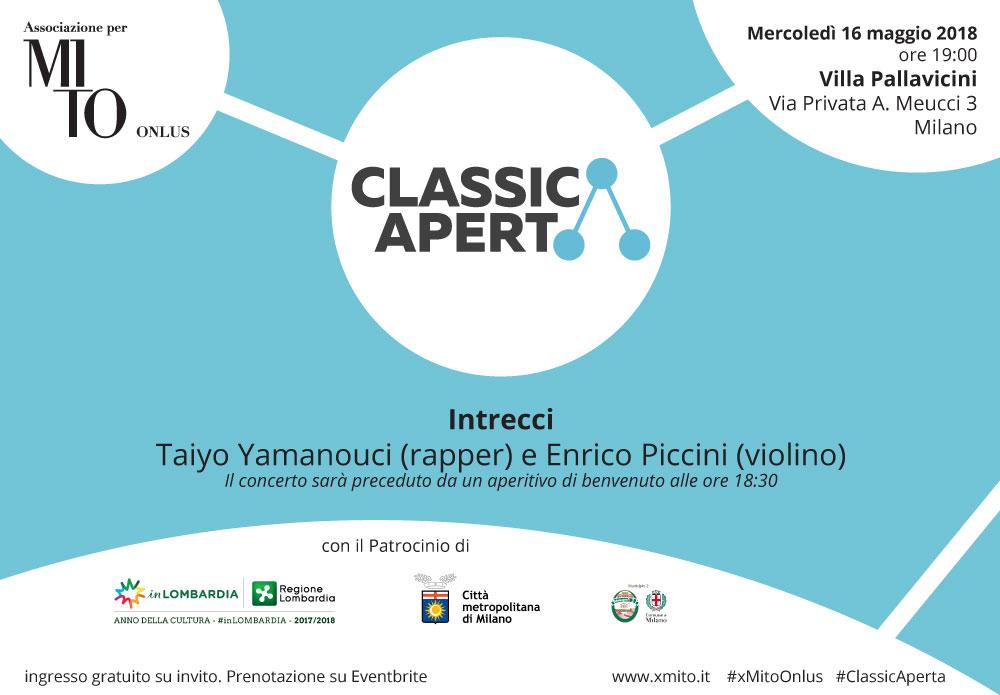 Invito-ClassicAperta: 16 maggio Taiyo Yamanouci (rapper) e Enrico Piccini (violino)