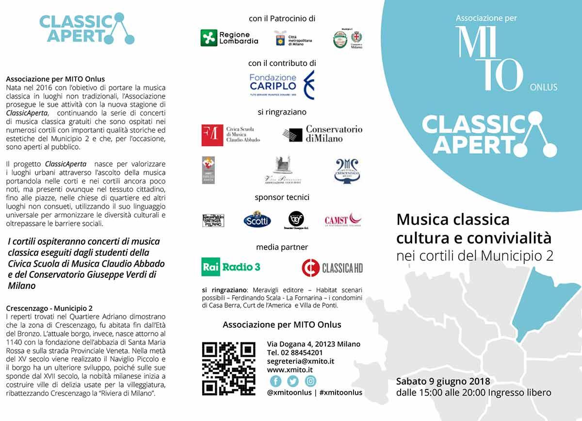 ClassicAperta 9 giugno 2018: musica classica e convialità nei cortili