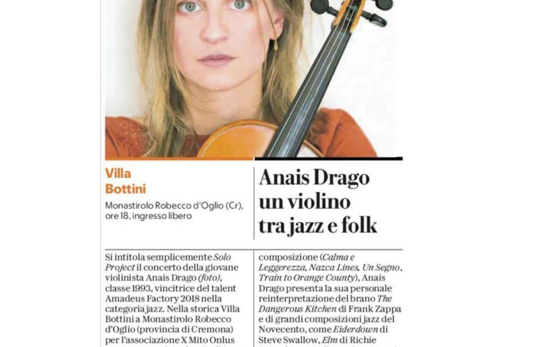 La Repubblica: Anais Drago un violino tra jazz e folk
