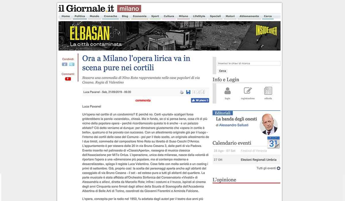 Rassegna Stampa: I due timidi 2019-09-19 - I due timidi