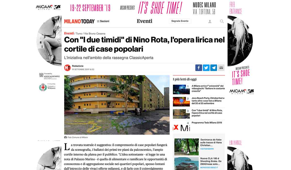 Rassegna Stampa: MilanoToday 2019-09-19 - I due timidi