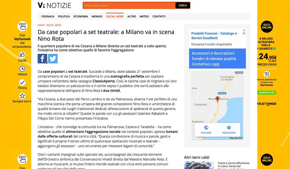 Rassegna Stampa: I due timidi 2019-09-19 - Virgilio Notizie