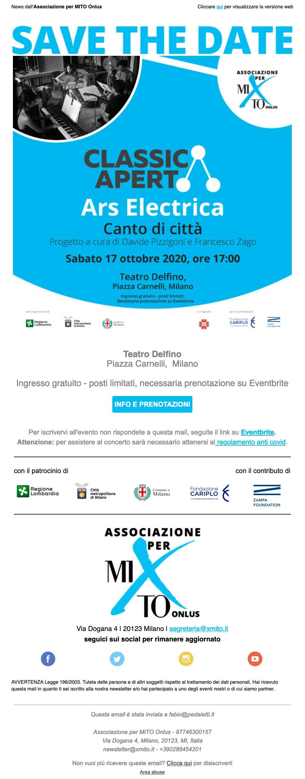 Associazione per MITO Onlus: invito ClassicAperta 2020 ottobre 15
