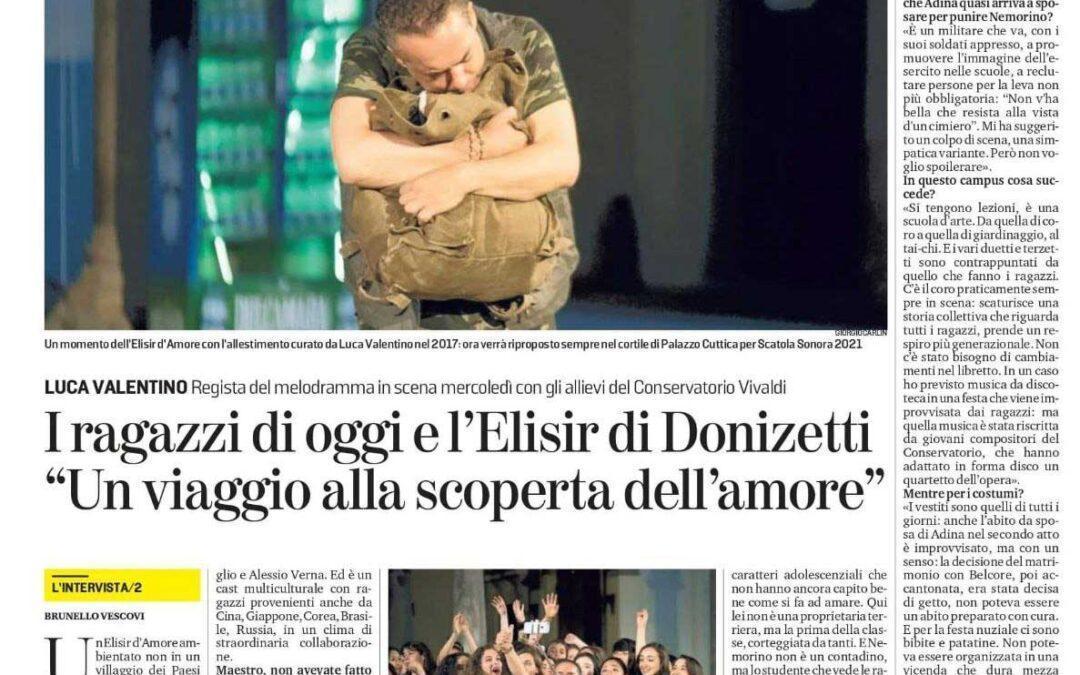 La Stampa: I ragazzi di oggi e l'Elisir di Donizetti