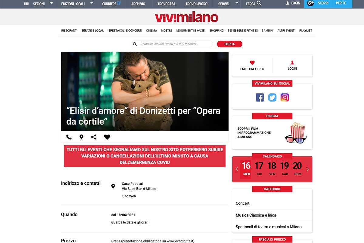 Rassegna stampa: ViviMilano - L'Elisir d'Amore