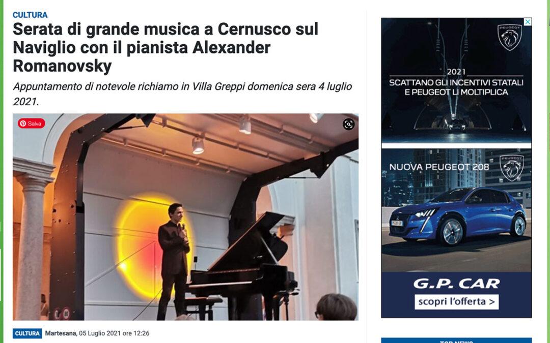 Prima la Martesana: Serata di grande musica a Cernusco sul Naviglio con il pianista Alexander Romanovsky
