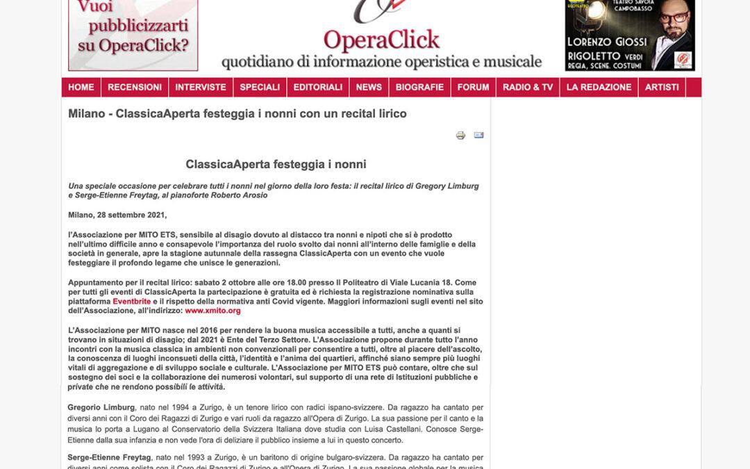 OperaClick: ClassicaAperta festeggia i nonni con un recital lirico