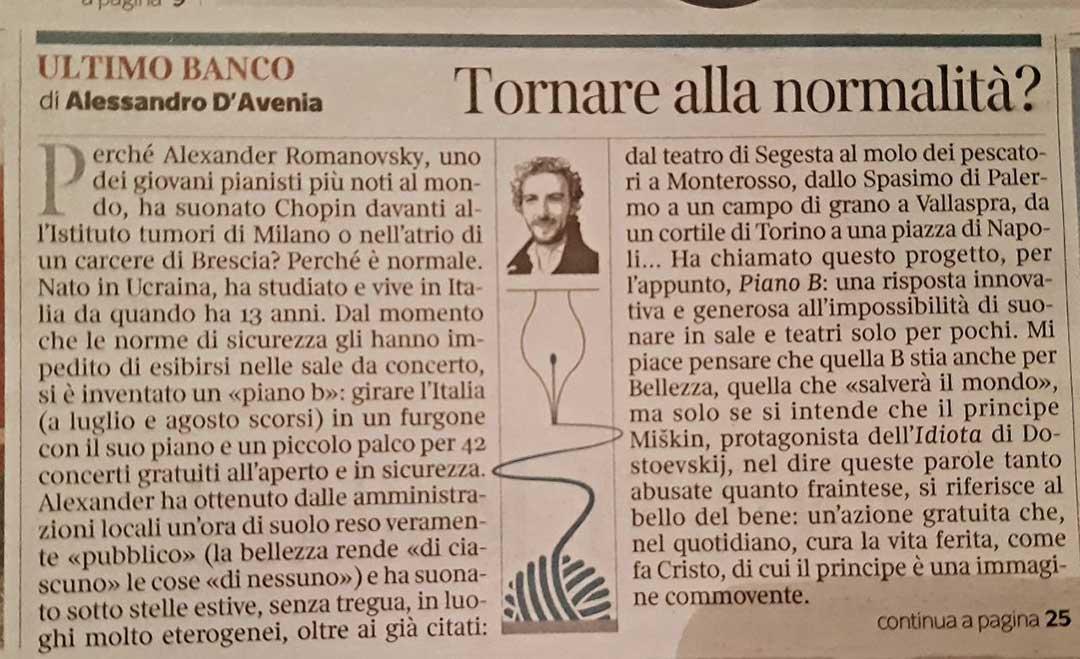 Corriere della Sera: tornare alla normalità?